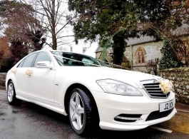 White Mercedes S Class for weddings in Bristol